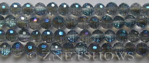 Tiaria Glass Crystal 123-Meridian Blue round Beads <b>8mm</b> faceted  <b> (96 Facets, only $1.15 per strand )</b>    per   <b> 10-str-hank (27-pc-str)</b>