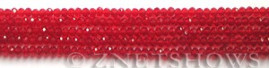 Tiaria Glass Crystal 05-Cherry Red rondelle Beads <b>3x2mm</b> faceted     per   <b> 100-pc-str</b>