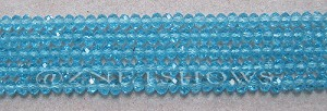 Tiaria Glass Crystal 28-Turquoise Bay rondelle Beads <b>3x2mm</b> faceted     per   <b> 100-pc-str</b>