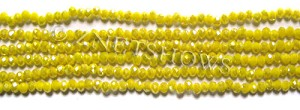 Tiaria Glass Crystal 81AB-Opaque Yellow AB rondelle Beads <b>3x2mm</b> faceted     per   <b> 100-pc-str</b>