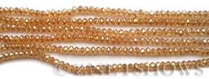 Tiaria Glass Crystal 94-Amber Gold rondelle Beads <b>3x2mm</b> faceted     per   <b> 100-pc-str</b>