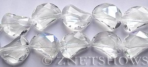 Tiaria Glass Crystal 01-Crystal kidney Beads <b>19x14mm</b> faceted halfmoon    per   <b> 8-in-str (11-pc-str)</b>