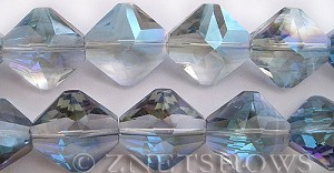 Tiaria Glass Crystal 123-Meridian Blue diamond Beads <b>22x22mm</b> faceted     per   <b> 10-pc-str</b>