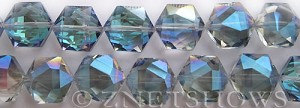 Tiaria Glass Crystal 123-Meridian Blue hexagon Beads <b>16x15mm</b> faceted     per   <b> 15-pc-str</b>