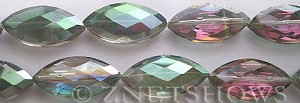 Tiaria Glass Crystal 120-Sahara Green marquise spindle Beads <b>26x12mm</b> faceted     per   <b> 7-pc-str</b>