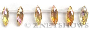 Tiaria Glass Crystal 10-Sunglow marquise spindle Beads <b>22x7mm</b> faceted     per   <b> 12-pc-str</b>