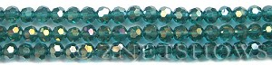 Tiaria Glass Crystal 26AB-Green Zircon AB round Beads <b>6mm</b> faceted     per   <b> 10-str-hank (37-pc-str)</b>