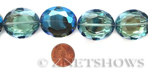Tiaria Glass Crystal 123-Meridian Blue oval Pendants <b>30x25mm</b> faceted     per   <b> 8-pc-str </b>