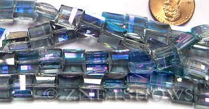 Tiaria Glass Crystal 123-Meridian Blue square Beads <b>14x14mm</b> faceted     per   <b> 12-pc-str</b>