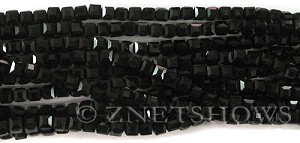 Tiaria Glass Crystal 02-Jet Black cube Beads <b>4mm</b> faceted     per   <b> 10-str-hank (50-pc-str)</b>