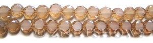 Tiaria Glass Crystal 94-Amber Gold coin Beads <b>8mm</b> faceted with Matte sides    per   <b> 28-pc-str</b>