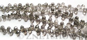 Tiaria Glass Crystal 70-Dark Tan Color teardrop Beads <b>9x6mm</b> faceted tip-drilled    per   <b> 100-pc-str</b>
