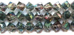 Tiaria Glass Crystal 120-Sahara Green cube Beads <b>11mm</b> faceted     per   <b> 15-pc-str</b>