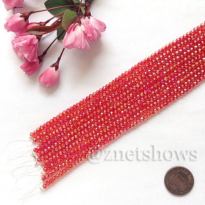 Tiaria Glass Crystal rondelle Beads <b>about 3x3.5mm</b> faceted 04AB-Light Cherry AB  (8-in-str,about 75-pc-str) per <b>10-str-bag</b>