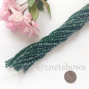 Tiaria Glass Crystal rondelle Beads <b>about 3x3.5mm</b> faceted  Opaque Dark green (about 150-pc-str) per <b>16-in-str</b>