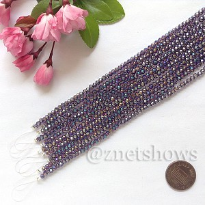 Tiaria Glass Crystal rondelle Beads <b>about 3x3.5mm</b> faceted 35AB-Purple AB  (8-in-str,about 75-pc-str) per <b>10-str-bag</b>