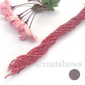 Tiaria Glass Crystal rondelle Beads <b>About 2x2.5mm</b> faceted 05AB-Cherry Red AB  (about 200-pc-str) per <b>16-in-str</b>