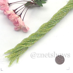Tiaria Glass Crystal rondelle Beads <b>About 2x2.5mm</b> faceted 22AB-Olive AB  (about 200-pc-str) per <b>16-in-str</b>