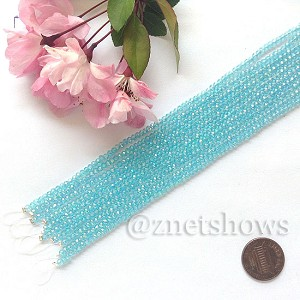 Tiaria Glass Crystal rondelle Beads <b>About 2x2.5mm</b> faceted 28AB-Turquoise Bay AB  (8-in-str,about 100-pc-str) per <b>10-str-bag</b>