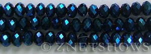 Tiaria Glass Crystal 108-Metallic Indigo Blue rondelle Beads <b>8x5mm</b> faceted     per   <b> 8-in-str</b>