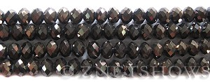 Tiaria Glass Crystal 114-Metallic Chocolate rondelle Beads <b>8x5mm</b> faceted     per   <b> 8-in-str</b>