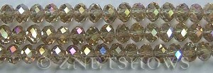 Tiaria Glass Crystal 13AB-Light Smoky Topaz AB rondelle Beads <b>8x5mm</b> faceted     per   <b> 8-in-str</b>