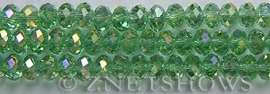 Tiaria Glass Crystal 23AB-Peridot AB rondelle Beads <b>8x5mm</b> faceted     per   <b> 8-in-str</b>