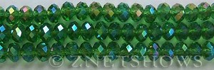 Tiaria Glass Crystal 24AB-Pine green AB rondelle Beads <b>8x5mm</b> faceted     per   <b> 8-in-str</b>