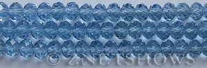 Tiaria Glass Crystal 31-Light Sapphire rondelle Beads <b>8x5mm</b> faceted     per   <b> 8-in-str</b>