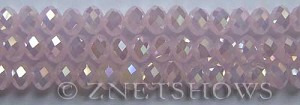 Tiaria Glass Crystal 48AB-Opaque Blossom Pink AB rondelle Beads <b>8x5mm</b> faceted     per   <b> 8-in-str</b>