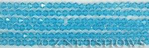 Tiaria Glass Crystal 29-Barbados Blue bicone Beads <b>4mm</b> faceted     per   <b> 8-in-str (50-pc-str)</b>