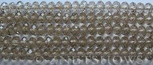 Tiaria Glass Crystal 13-Light Smoky Topaz rondelle Beads <b>6x4mm</b> faceted     per   <b> 8.5-in-str (50-pc-str)</b>