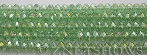 Tiaria Glass Crystal 23AB-Peridot AB rondelle Beads <b>6x4mm</b> faceted     per   <b> 8.5-in-str (50-pc-str)</b>