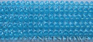 Tiaria Glass Crystal 29-Barbados Blue rondelle Beads <b>6x4mm</b> faceted     per   <b> 8.5-in-str (50-pc-str)</b>