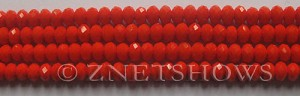 Tiaria Glass Crystal 73-Opaque Orange Flame rondelle Beads <b>6x4mm</b> faceted     per   <b> 8.5-in-str (50-pc-str)</b>