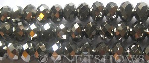 Tiaria Glass Crystal 104- Metallic Silver rondelle Beads <b>10x8mm</b> faceted     per   <b> 8-in-str (26-pc-str)</b>