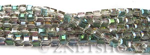 Tiaria Glass Crystal 120-Sahara Green cube Beads <b>4mm </b> faceted     per   <b> 8.5-in-str  (50-pc-str) </b>
