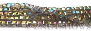 Tiaria Glass Crystal 13AB-Light Smoky Topaz AB cube Beads <b>4mm </b> faceted     per   <b> 8.5-in-str  (50-pc-str) </b>