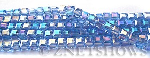 Tiaria Glass Crystal 31AB-Light Sapphire AB cube Beads <b>4mm </b> faceted     per   <b> 8.5-in-str  (50-pc-str) </b>