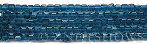 Tiaria Glass Crystal 82-Teal cube Beads <b>4mm </b> faceted     per   <b> 8.5-in-str  (50-pc-str) </b>