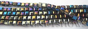 Tiaria Glass Crystal Montana Blue cube Beads <b>4mm </b> faceted   per   <b> 8.5-in-str (50-pc-str) </b>