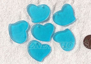 Cultured Sea Glass Large Fancy Flat Heart Pendants <b>30x30mm</b> 30-Pacific Blue per <b>6-pc-bag</b>