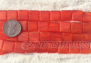 Cultured Sea Glass Square Puffed Beads <b>12x12mm</b> 83-Tangerine per <b>5-str-hank(9-pc-str)</b>