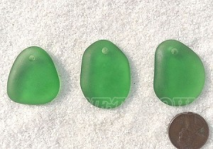 Cultured Sea Glass large pebble for engraving Pendants <b>varied</b> 25-Shamrock per <b>3-pc-bag</b>