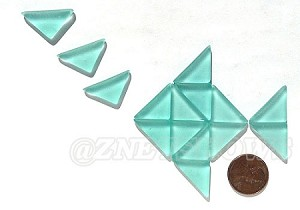 Cultured Sea Glass Cabachons and Art Tiles Triangle Puffed <b>25x12mm</b> 89-Autumn Green per <b>15-pc-bag</b>