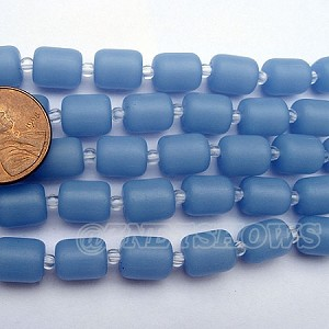 Cultured Sea Glass barrel nugget  Beads <b>About 10x8mm</b> 47-Opaque Sky Blue (17-pc-str) per <b>5-str-hank</b>